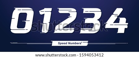 Vector graphic numbers in a set 0,1,2,3,4, with Speed font style. for event, promo, logo, banner, monogram and poster. Typeset design.