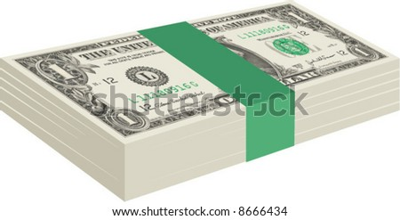 Vector graphic of a stack of United States US one dollar bills