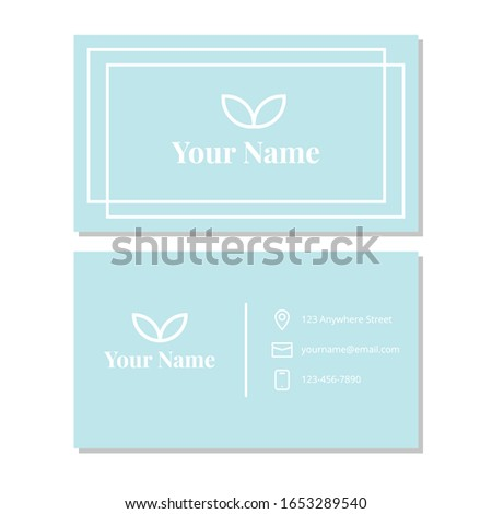 Vector graphic of business card design with clean, modern and minimalist, blue and white color scheme. Perfect to use for personal or company.