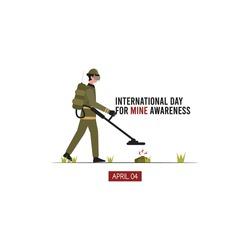 vector graphic of international day for mine awareness good for mine awareness celebration. flat design. flyer design.flat illustration.