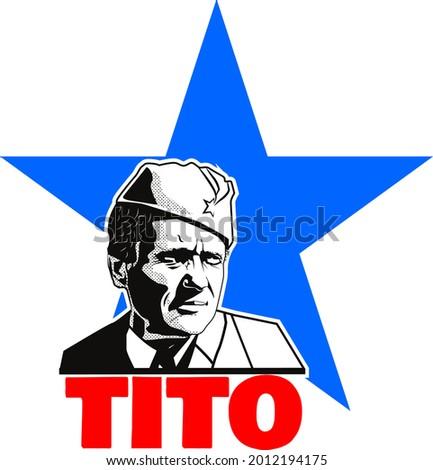 Vector Graphic Of Tito President of Yugoslavia Stock fotó ©