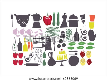 vector - graphic retro set about food, perfect for restaurant menu