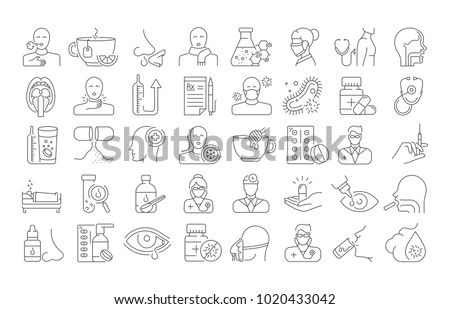 Vector graphic set. Editable outline stroke size. Icons in flat, contour, thin and linear design. Common cold. Symptoms, treatment, prevention. Simple isolated icons. Concept illustration for Web site