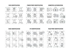 Vector graphic set. Editable stroke size. Icons in flat, contour, outline design. Scanning biometric data. Modern digital key, password. Web and app concept. Sign, symbol, element.