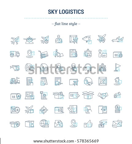 Vector graphic set. Icons in flat, contour, thin and linear design.Air Logistics. Sending freight by air way.Simple icon on white background.Concept illustration for Web site, app.Sign,symbol,emblem.