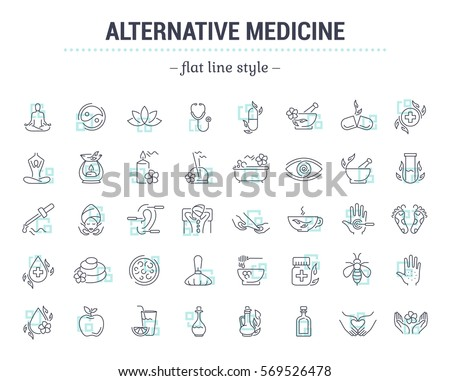 Shutterstock Vector graphic set.Icons in flat, contour,thin and linear design.Alternative medicine. Natural beauty.Simple isolated icon on white background.Concept illustration for Web site app.Sign,symbol,emblem.
