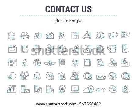 Vector graphic set.Icons in flat, contour,thin and linear design.Contact us. Information Support.Simple isolated icons.Concept illustration for Web site app.Sign,symbol,emblem.