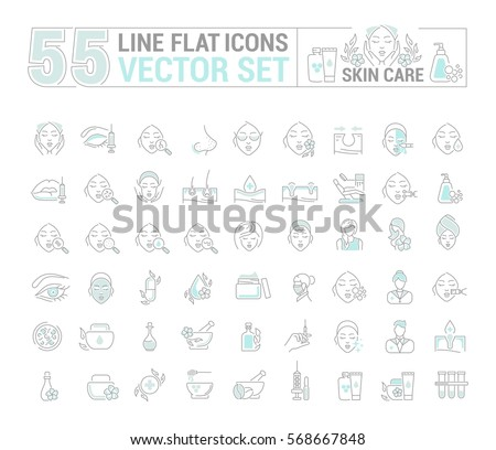 Vector graphic set.Icons in flat, contour,thin and linear design.Cosmetology. Skin care.Simple isolated icons.Concept illustration for Web site app.Sign,symbol,element.