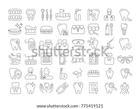 Vector graphic set. Icons in flat, contour, thin and linear design. Dental services, therapy, disease, problem, tool, reconstruction. Simple isolated icons. Concept Web illustration. Sign, symbol.