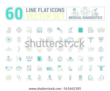 Vector graphic set. Icons in flat, contour, thin and linear design.Medical diagnostics. Check up.Simple icon on white background.Concept illustration for Web site, app.Sign, symbol, emblem.