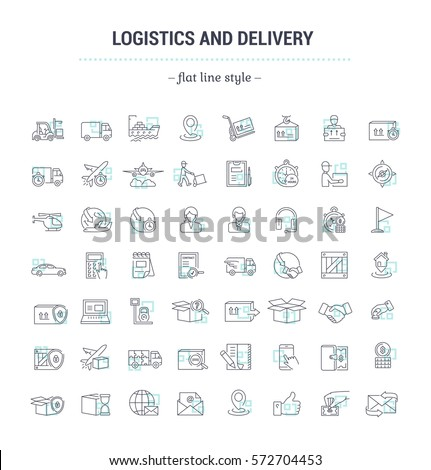 Vector graphic set.Icons in flat, contour,thin, minimal and linear design.Logistics and delivery of cargoes and parcels.Simple isolated icons.Concept illustration for Web site app.Sign,symbol,element.