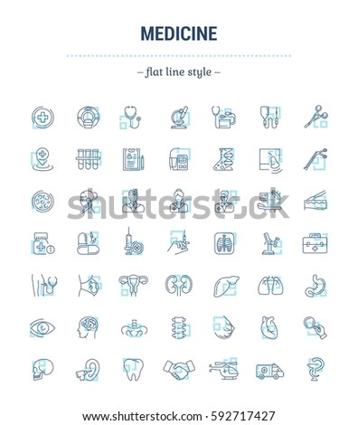 Vector graphic set. Icons in flat, contour, thin, minimal and linear design.Medicine. Branches of Medicine. Medical education.Treatment of diseases.Concept illustration for Web site.Sign, symbol.