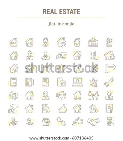 Vector graphic set.Icons in flat, contour,thin, minimal and linear design.Real estate.Simple isolated icons.Concept illustration for Web site app.Sign,symbol,element.