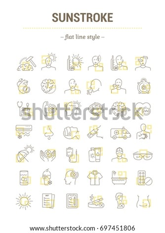 Vector graphic set.Isolated Icons in flat, contour, thin, minimal and linear design.Sunny stroke.Illness, symptom.Protection.Overheating on sunny day.Concept illustration.Web sign,symbol, element.