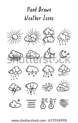 Vector graphic set of hand drawn weather icons. Beautiful design elements, ink drawing