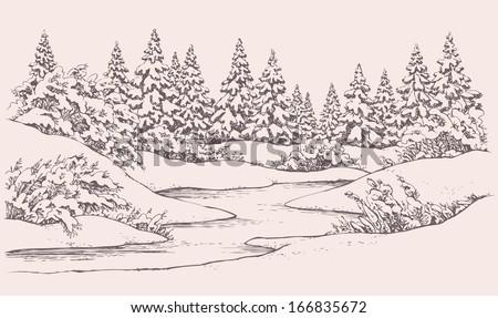 vector graphic sketch winter