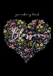 vector graphic with heart shape out of blossoms, millefleur and handwritten quote