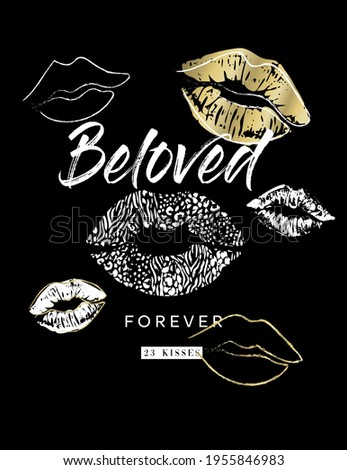 vector graphic with lips and kiss shapes, leopard pattern, gold details, wording