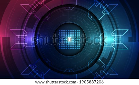 Vector graphics. chip processor speed technology background. vector illustration