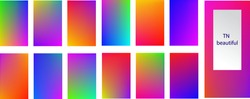 Vector graphics. EPS10. A set of 13 mesh gradient backgrounds.  Rainbow graphic display, Wallpaper. bright mobile app design mixing kit bright duo color template