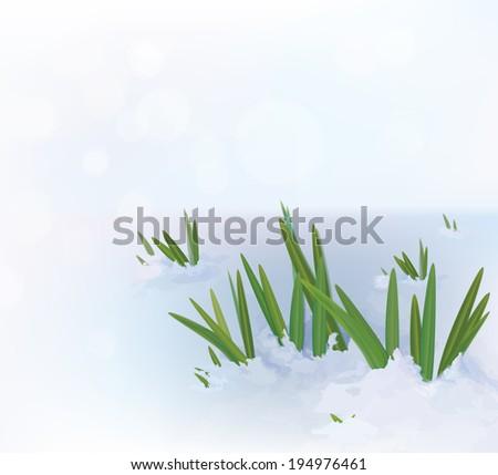 Vector grass in snow. #194976461