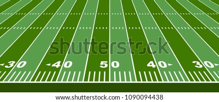 Vector grass textured american football field. View from with sildeline