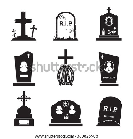 vector grave icons