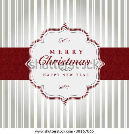 Vector Gray and Red Christmas Label. Easy to edit. Perfect for labels, invitations or announcements.