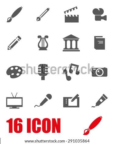 Vector gray art icon set.