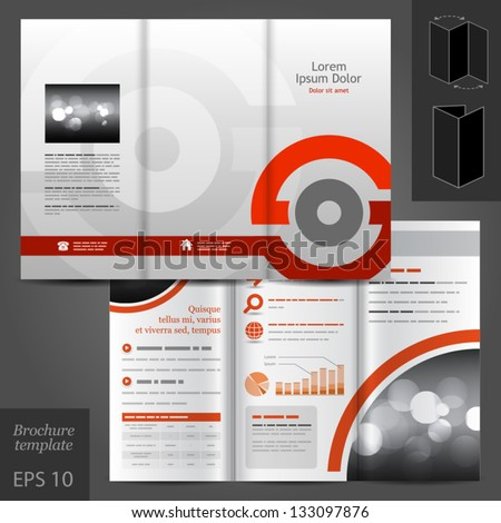 Vector gray brochure template design with red round elements EPS 10