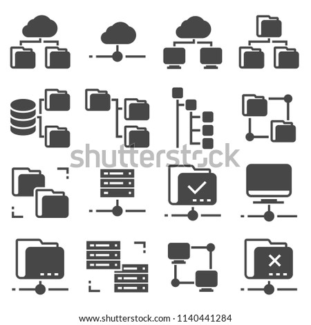 Vector Gray Folder Tree Icons set on White Background