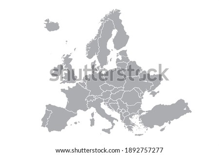 Vector gray of Europe map on white background.