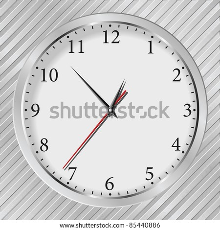 Vector gray wall clock on a metal silver striped background