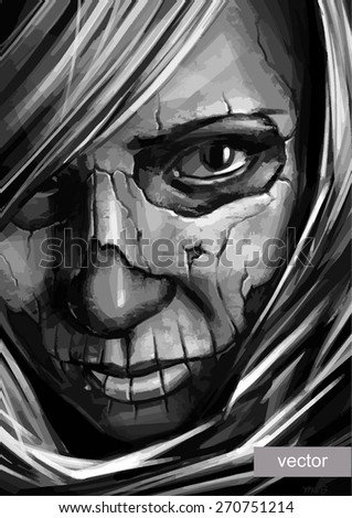 vector grayscale girl with