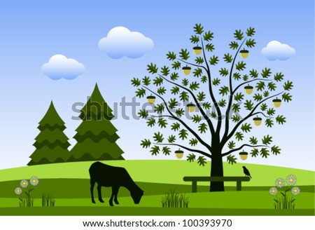 vector grazing goat and oak tree with bench