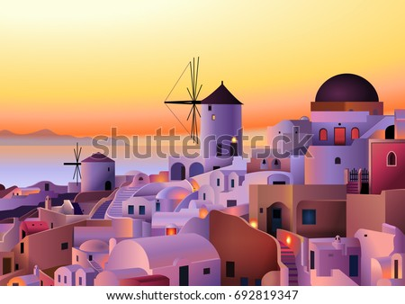 vector greece island summer