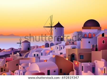 vector greece island summer