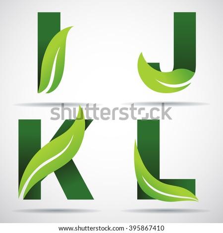 vector green alphabet set of