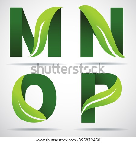 vector green alphabet set of eco letters logo with leaves