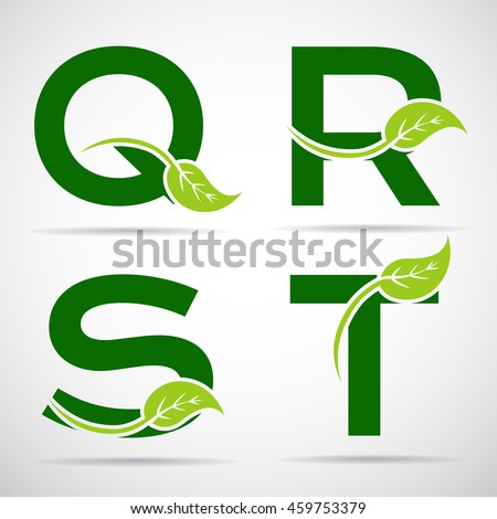 vector green alphabet set of