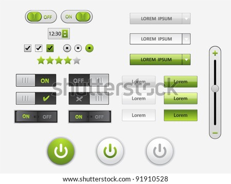 Vector green and white web elements and power icons in different conditions