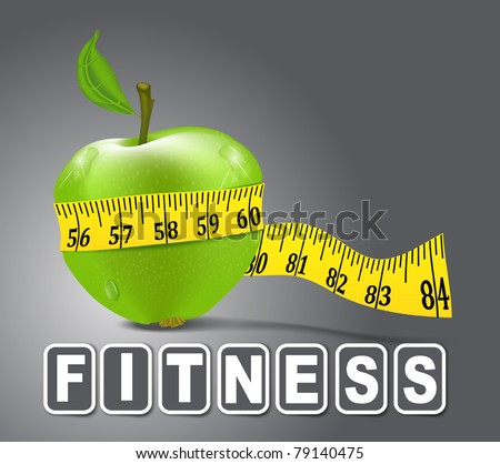 Vector green apple sport, measured the meter on a gray background