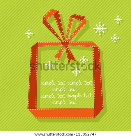 Vector green background with gift box made from red paper ribbon. Original christmas greeting and invitation card in origami style. Illustration for presentation with banner, snowflakes, text box