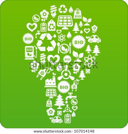 Vector green background with light bulb consisting of ecology icons