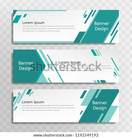 Vector green banner template design with 3 designs.