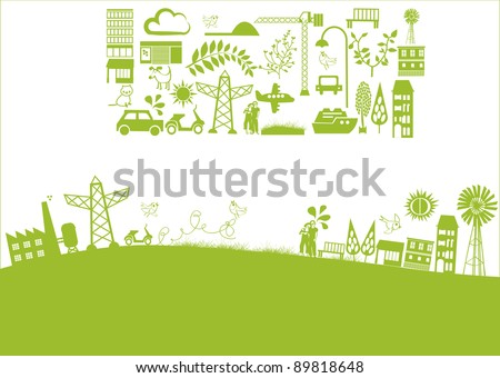 vector - green banner with houses and nature elements