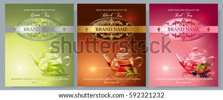 Vector green, black and red tea banners with transparent teapot tea leaves and berries. Design for packaging, drink menu and tea products. Only free fonts used. Font names included in the layers