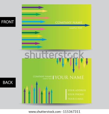 vector green business card set. vector lines background.