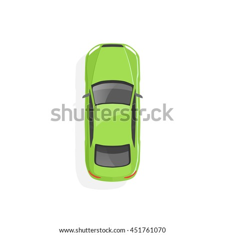 vector green car top view