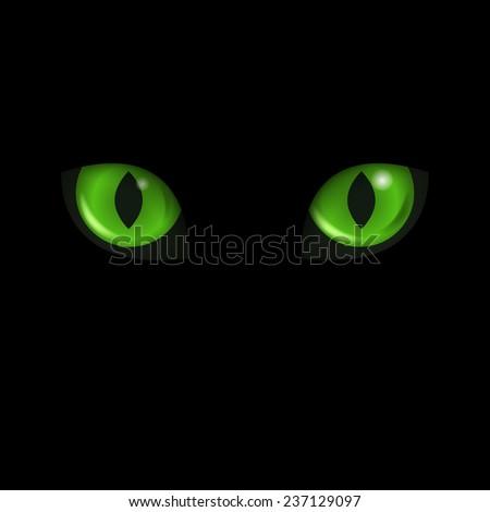 vector green cat's eyes at the